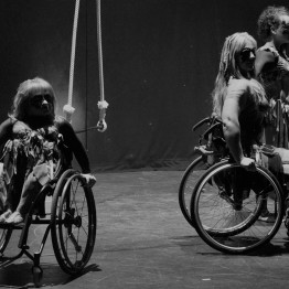 Three women look out at the audience. Two are wheelchair users, the other stands. A trapeze hangs in the background.